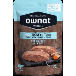 Ownat Wetline comida húmeda para gatos sterilised turkey & tuna