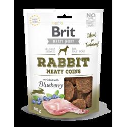 Brit jerky snack meaty coins conejo premios para perro